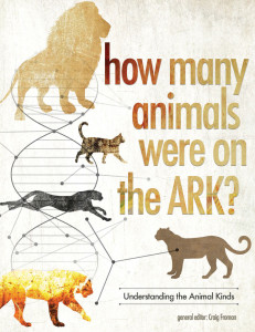 A book for sale at the Ark Encounter gift shop. You can see on the cover that the felines all came from a single common ancestor cat on the Ark.